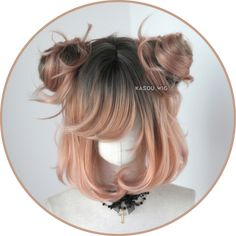 [ Kasou Wig ] cute lolita wig Uni- ♦ Coral Peach ♦ – – - New Site Kawaii Hairstyles, Pretty Hairstyles, Wig Hairstyles, Drawing Hairstyles, Teenage Hairstyles, Quick Hairstyles, Kawaii Wigs, Lolita Hair, Lolita Makeup