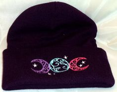 Hey, I found this really awesome Etsy listing at https://www.etsy.com/listing/158332299/embroidered-wiccan-beanie-hat-triple