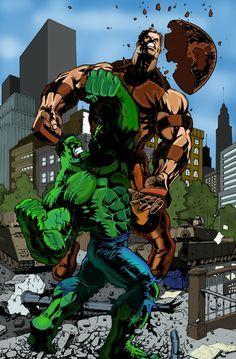 Hulk vs Juggernaut by Alvin Cortez