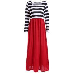 Scoop Neck Long Sleeve Maxi Casual Dress 13.74 USD