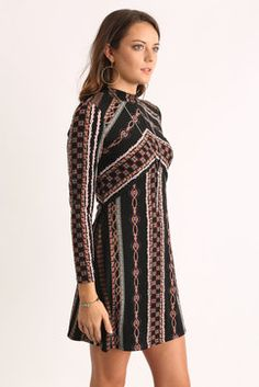 Free People Stella Knit Mini Dress in BLACK MULTI - side view