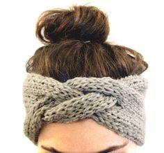 Knitting Patterns Headband braided headband in smoke grey, hand knit from Peruvian Highland sheep& wool Knit Headband Pattern, Knitted Headband, Knitted Hats, Hand Knitting, Knitting Patterns, Lana, Headbands, Braid Headband, Knit Crochet