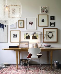 Modern Home Office Inspiration · Workspace Design · Creative Studio · Artist Desk · Gallery Wall Home Office Inspiration, Workspace Inspiration, Interior Inspiration, Inspiration Wall, Interior Ideas, Design Interior, Creative Inspiration, Creative Ideas, Home Office Design