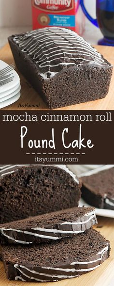 This mocha cinnamon roll pound cake is SO good! It's a rich chocolate cake, spiked with cinnamon-vanilla flavored coffee, cinnamon roll flavored coffee creamer, and cream cheese. // Get the recipe from @itsyummi