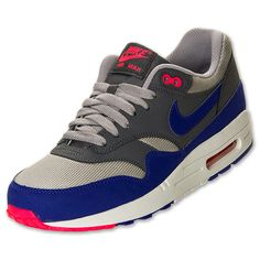 Mens Nike Air Max 1 Essential Running Shoes| FinishLine.com | Medium Grey/Ultra Maroon/Dark Grey