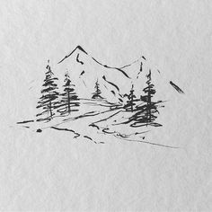 brush pen landscape by Sarah Hernandez (lostswissmiss) Cute Little Drawings, Cool Art Drawings, Art Sketches, Cabin Tattoo, Hiking Tattoo, Nature Sketch, Pen Sketch, Nature Tattoos, Pen Art