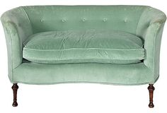Mint Green Velvet Sofa, C. 1940