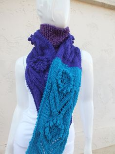 $69 AMETYST Scarf   Purple turquoise handknit by SuninVirgoCreations