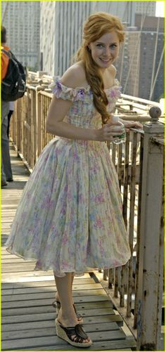 Amy Adams as Giselle in Enchanted. Floral dress, full skirt, off the shoulder sleeves, runched bodice.
