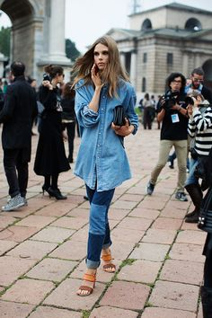 Jeans w/ patches, jean shirt, heels