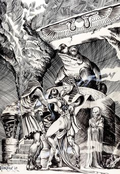 Original fantasy illustration by Stephen Hickman, 1969.