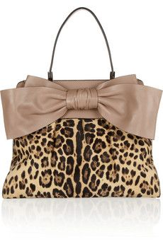 Valentino Bow-embellished leopard-print calf hair tote