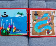 Piratebook  2 Quiet book pages At sea  treasure map PATTERN