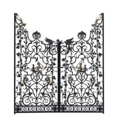 A PAIR OF AMERICAN SILVERED AND GILT-BRONZE-MOUNTED WROUGHT IRON GARDEN GATES BY EDWARD F. CALDWELL & CO., NEW YORK, CIRCA 1923  Each with pierced arabesques, cartouches and vinery, punctuated by scampering monkeys, phoenix birds and grape clusters above a scrolling pierced border Sold $56,250 Christies http://www.christies.com/lotfinder/furniture-lighting/a-pair-of-american-silvered-and-gilt-bronze-mounted-5741296-details.aspx