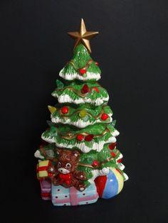 """VINTAGE CERAMIC CHRISTMAS TREE RON GORDON ATLANTIC WHITE MOLD TEDDY BEAR 12"""""""