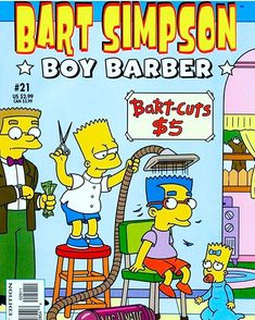 We're loving the Bart Simpson barber image. All the cuts seem to have a certain theme Barber Poster, Barber Logo, Simpsons Drawings, Simpson Wallpaper Iphone, Barber Shop Decor, Simpsons Characters, Barbershop Design, Barber Supplies, Presents For Boys