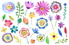 Children's floral hand drawn clipart: DIY kids collection with bright branches, buds, flowers and leaves. These colors are perfect for decoration of cards, wedding invitations, greeting cards, party invitations, posters, birthday projects, flyers, brochures, covers, presentations, print templates, scrapbooking artworks, baby showers and so on