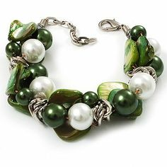 Faux Pearl & Shell - Composite Silver Tone Link Bracelet ( Green, Olive & White) Avalaya. $14.40. Gemstone: faux pearl. Material: sea shell, pearls. Metal Finish: silver plated. Collection: pearl. Occasion: cocktail party, casual wear