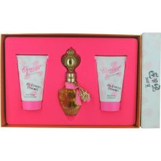 """Juicy Couture Set (Eau De Parfum Spray and Body Lotion and Shower Gel) by Juicy Couture. $45.06. Juicy """"Couture Couture"""" Perfume Gel Lotion Gift Set 3pc. Couture Couture, it is presented in a gorgeous Juicy gift box. This set contains a 1.7 OZ parfum spray in a beautiful bottle with Juicy charm and zipper collar, a 4.2 OZ body lotion and a 4.2 shower gel.. Save 47% Off!"""