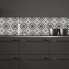 Trianon noir - adhésif imperméabilisé façon carreaux de ciment pour crédence