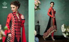 Designer Red And Black Semi Stitched Chudidar Salwar Suit  #salwarsuits #designersalwarsuits