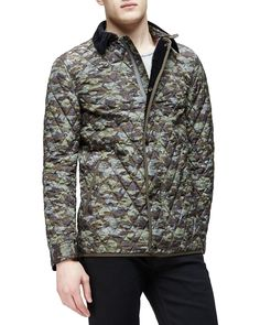 Camo-Print Quilted Bomber Jacket, Olive (Green), Size: X-LARGE - Burberry Brit