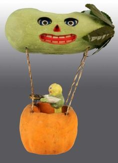 Halloween Veggie Man in hot air balloon candy container