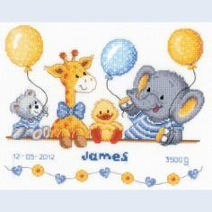Cross stitch animals and balloons Could change colors for girls