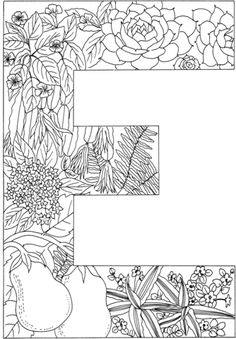 Letter E With Plants Coloring Page From English Alphabet Category Select 24659