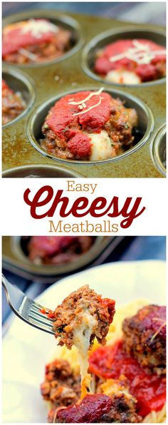 Easy Cheesy Meatballs - so easy to make that even the kids can help! Stuffed with melted cheese and served with marinara sauce and pasta. Yum!