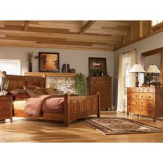 Mission wood platform storage bed by michael ashton - Ashley wilkes bedroom collection ...
