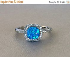 Cushion Cut Blue Fire Opal Sterling Silver by SimplySilvery