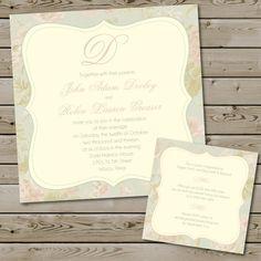 Shabby Chic Vintage Wedding Invitation Package, printable, digital, square