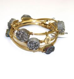 Bourbon and Boweties! Silver Druzy Bangle