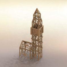 Plans for model of matchsticks. Big Ben