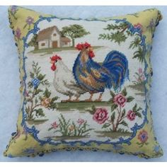 French Blue and Yellow Rooster and Hen SQ Needlepoint Pillow--Throw me a pillow