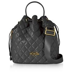33c273587306ca Love Moschino Handbags Black Quilted Eco Leather Bucket Bag
