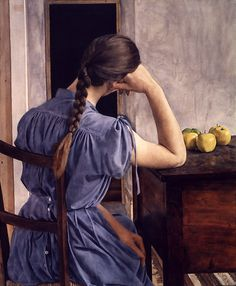 huariqueje: Girl with Appels - Michael Taylor South African 1979 Contemporary Art Blue Painting, Figure Painting, Alex Ross, Hyper Realistic Paintings, Painting People, Portraits, Online Fashion Stores, Beautiful Paintings, Figurative Art