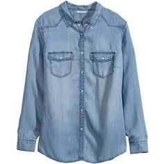 H&M+ Denim shirt ($21) ❤ liked on Polyvore featuring tops, shirts, denim, long sleeves, plus size, denim blue, plus size long sleeve tops, blue top, denim shirt and plus size shirts