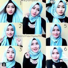 Gambar Tutorial Hijab Segi Empat partai untuk wanita Muslim muda Gambar Tutorial…