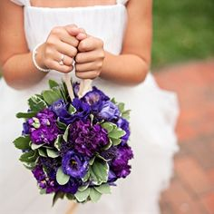 Purple pomander for a flower girl.- this shape is easy for a little girl to hold.
