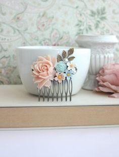 Blush Pink Light Turquoise Mint Light Pink Ivory Rose by Marolsha, $26.50