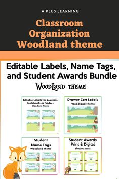 School Resources, Classroom Resources, Student Name Tags, Student Awards, Woodland Theme, Classroom Organization, Getting Organized, Back To School, Names