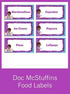 Doc McStuffins Food Labels - FREE PDF Download