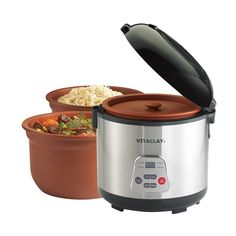 VitaClay - 3.2-Quart Rice cooker/slow cooker - Silver/black, APVC77006