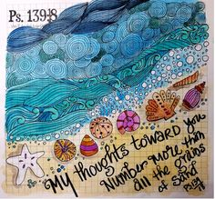 Sketchnote Summer Camp-a day at the beach -a day at the beach - doodle then watercolored the background - #sktechnoteboss, #sermonsketchnotes, #sketchnotes, #sketchnote, Beach Watercolor, Pen And Watercolor, Inspirational Bible Quotes, Grain Of Sand, Sketch Notes, My Doodle, Bullet Journal Inspiration, Drawing People, Psalms