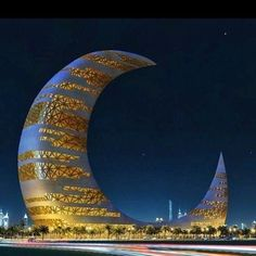 15 Strange Buildings you'd love to see - Crescent Moon Tower, Dubai What an great structure! Dubai is such a fascinating place. Unusual Buildings, Interesting Buildings, Amazing Buildings, Famous Buildings, Dubai Buildings, Futuristic Architecture, Beautiful Architecture, Art And Architecture, Classical Architecture