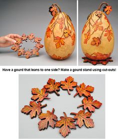Maple Leaf Cut Outs -- Gourd Art by Christy Barajas