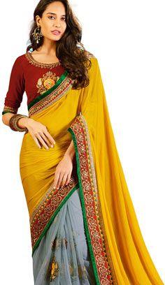 Latest Indian Saree, Indian Sarees Online, Yellow Saree, Designer Sarees Online, Indian Designer Sarees, Wedding Sari, Saree Styles, Beautiful Saree, Party Wear Sarees