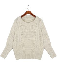Beige Batwing Long Sleeve Cable Knit Sweater - Sheinside.com